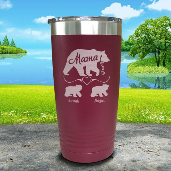 Mama Bear Nurse (CUSTOM) With Child's Name Engraved Tumblers Tumbler ZLAZER 20oz Tumbler Maroon