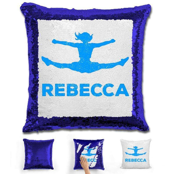 Competitive Cheerleader Personalized Magic Sequin Pillow Pillow GLAM Blue Light Blue