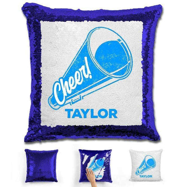 Cheerleader Personalized Magic Sequin Pillow Pillow GLAM Blue Light Blue