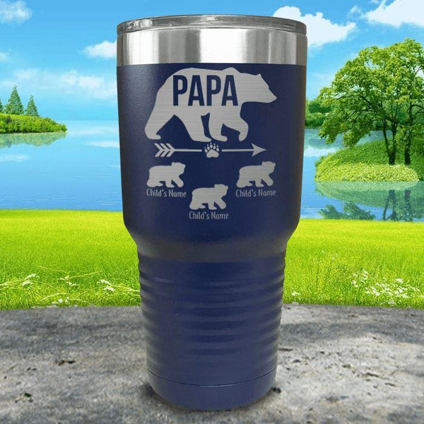 Papa Bear (CUSTOM) With Child's Name Engraved Tumblers Tumbler ZLAZER 30oz Tumbler Navy