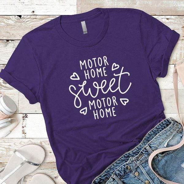 Motor Home Sweet Motor Home Premium Tees T-Shirts CustomCat Purple Rush/ X-Small