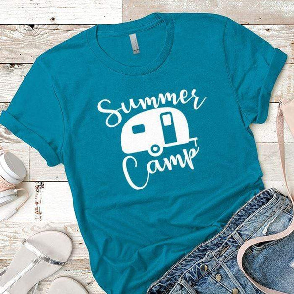 Summer Camp Premium Tees T-Shirts CustomCat Turquoise X-Small