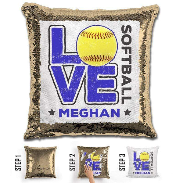 Personalized LOVE Softball Magic Sequin Pillow Pillow GLAM Gold Blue