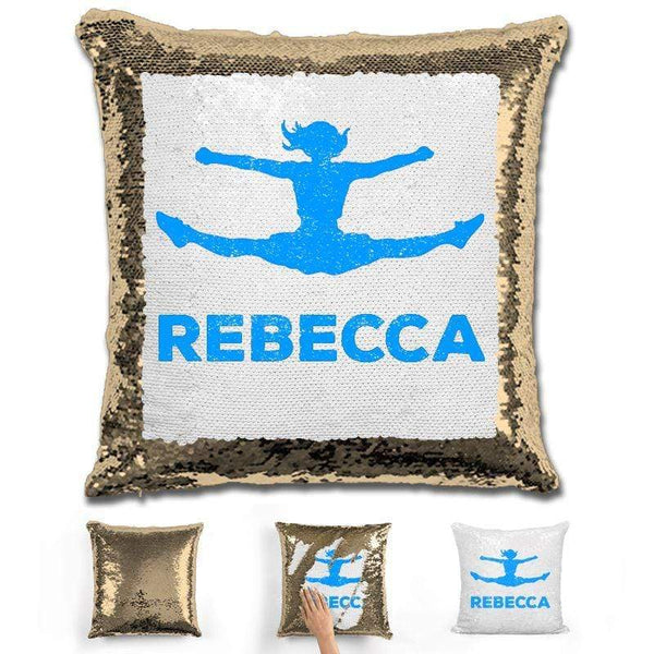 Competitive Cheerleader Personalized Magic Sequin Pillow Pillow GLAM Gold Light Blue