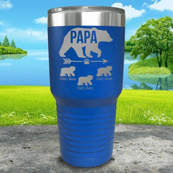 Papa Bear (CUSTOM) With Child's Name Engraved Tumblers Tumbler ZLAZER 30oz Tumbler Blue