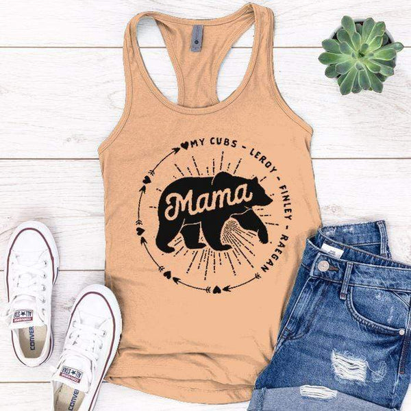 PERSONALIZED Mama Bear Premium Tank Tops Apparel Edge Light Orange S