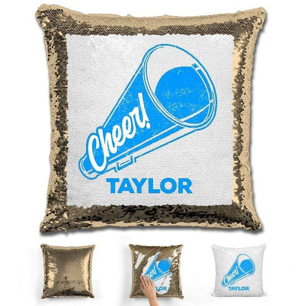 Cheerleader Personalized Magic Sequin Pillow Pillow GLAM Gold Light Blue