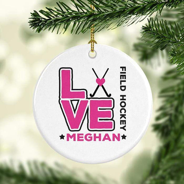 Love Hockey Personalized Ceramic Ornaments