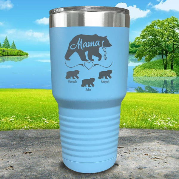 Mama Bear Nurse (CUSTOM) With Child's Name Engraved Tumblers Tumbler ZLAZER 30oz Tumbler Light Blue