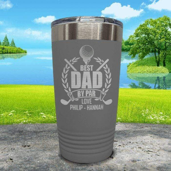 CUSTOM Best Dad By Par Engraved Tumblers Tumbler ZLAZER 20oz Tumbler Grey