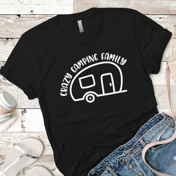 Crazy Camping Family Premium Tees T-Shirts CustomCat Black X-Small