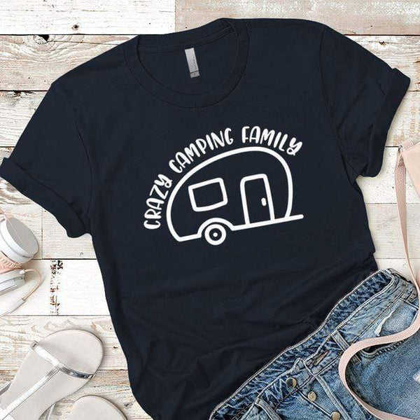 Crazy Camping Family Premium Tees T-Shirts CustomCat Midnight Navy X-Small