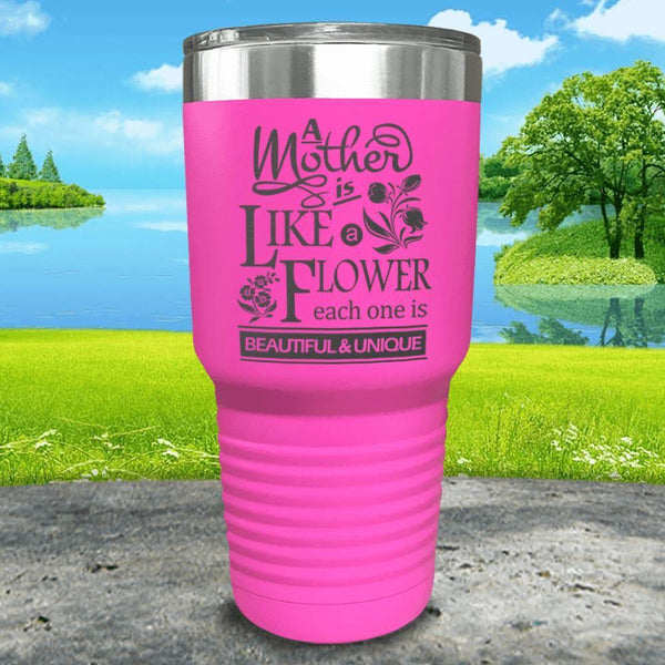 A Mother Is Like A Flower Engraved Tumbler Tumbler ZLAZER 30oz Tumbler Pink
