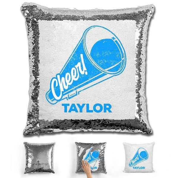 Cheerleader Personalized Magic Sequin Pillow Pillow GLAM Silver Light Blue