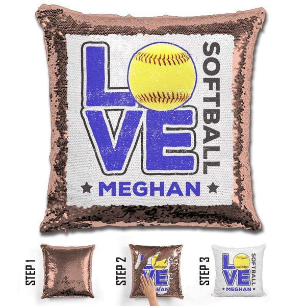Personalized LOVE Softball Magic Sequin Pillow Pillow GLAM Rose Gold Blue