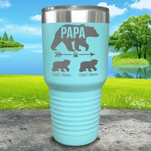 Papa Bear (CUSTOM) With Child's Name Engraved Tumblers Tumbler ZLAZER 30oz Tumbler Mint