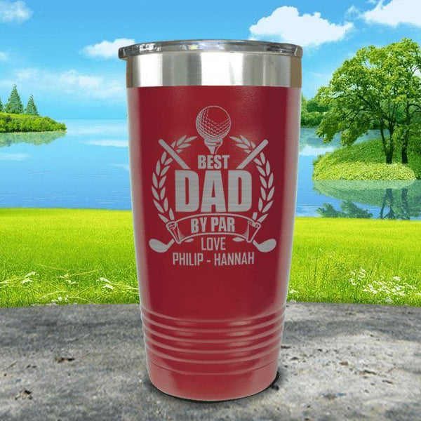 CUSTOM Best Dad By Par Engraved Tumblers Tumbler ZLAZER 20oz Tumbler Maroon
