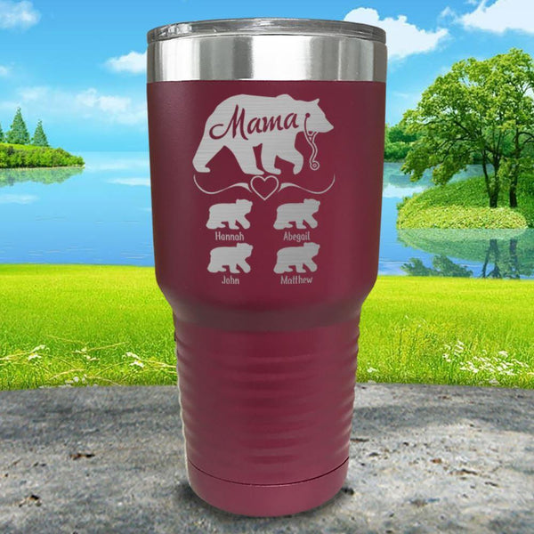 Mama Bear Nurse (CUSTOM) With Child's Name Engraved Tumblers Tumbler ZLAZER 30oz Tumbler Maroon