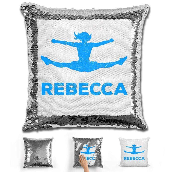 Competitive Cheerleader Personalized Magic Sequin Pillow Pillow GLAM Silver Light Blue