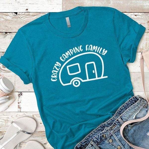 Crazy Camping Family Premium Tees T-Shirts CustomCat Turquoise X-Small
