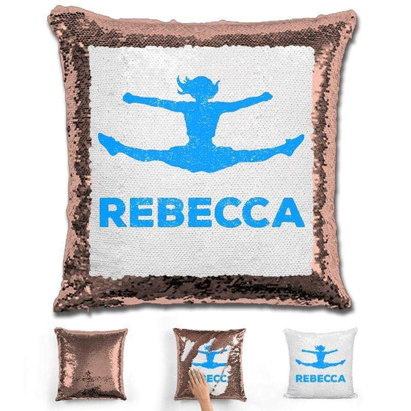 Competitive Cheerleader Personalized Magic Sequin Pillow Pillow GLAM Rose Gold Light Blue