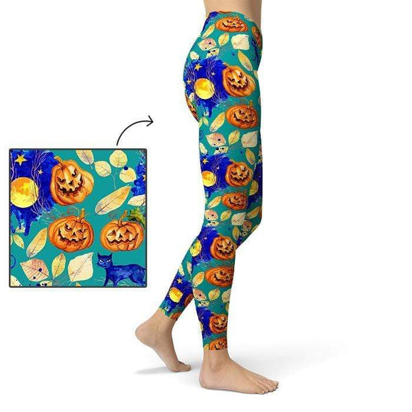 Halloween All Day Leggings Pants CustomCat X-Small