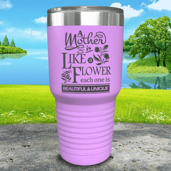 A Mother Is Like A Flower Engraved Tumbler Tumbler ZLAZER 30oz Tumbler Lavender