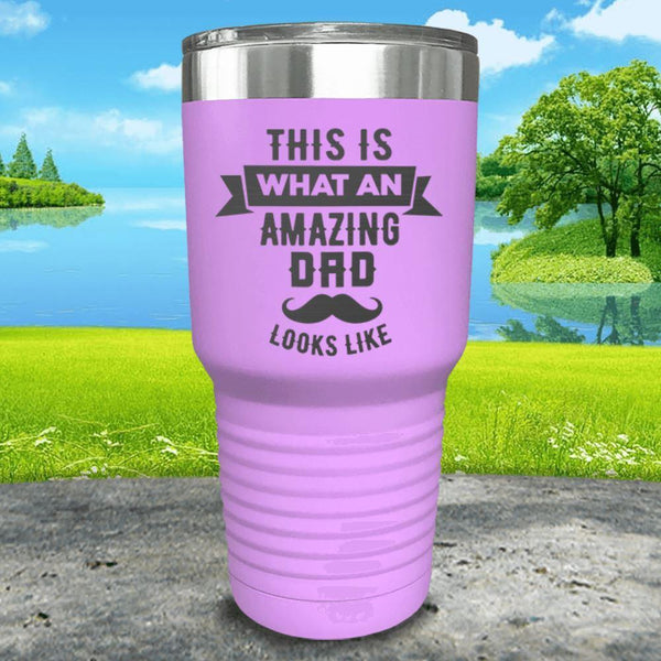 This Is What An Amazing Dad Looks Like Engraved Tumbler Tumbler ZLAZER 30oz Tumbler Lavender