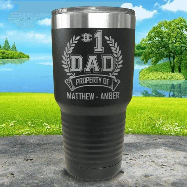 CUSTOM #1 Dad Engraved Tumblers Tumbler ZLAZER 30oz Tumbler Black