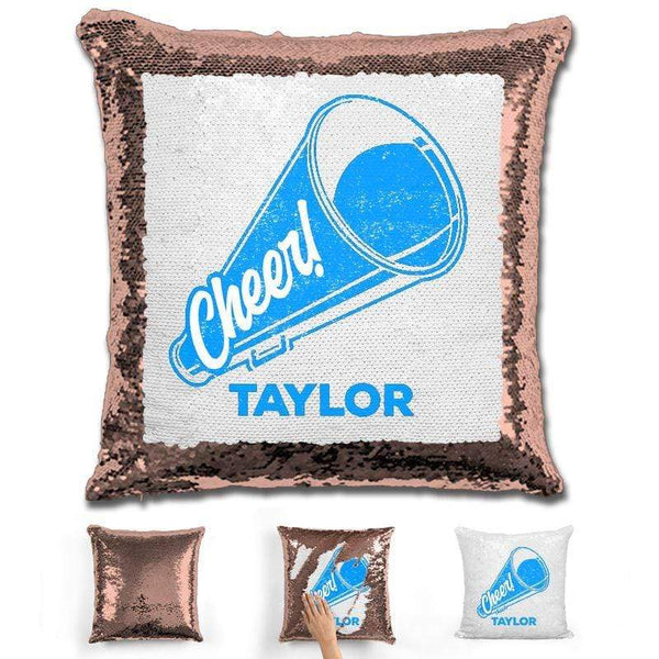 Cheerleader Personalized Magic Sequin Pillow Pillow GLAM Rose Gold Light Blue