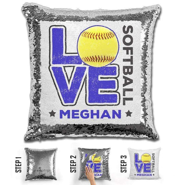 Personalized LOVE Softball Magic Sequin Pillow Pillow GLAM Silver Blue