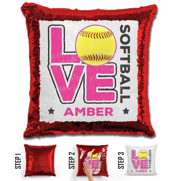 Personalized LOVE Softball Magic Sequin Pillow Pillow GLAM Red Pink
