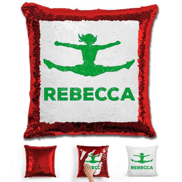 Competitive Cheerleader Personalized Magic Sequin Pillow Pillow GLAM Red Green
