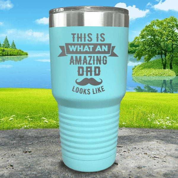 This Is What An Amazing Dad Looks Like Engraved Tumbler Tumbler ZLAZER 30oz Tumbler Mint