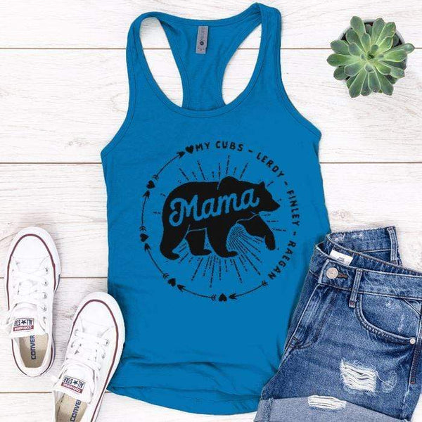 PERSONALIZED Mama Bear Premium Tank Tops Apparel Edge Turquoise S