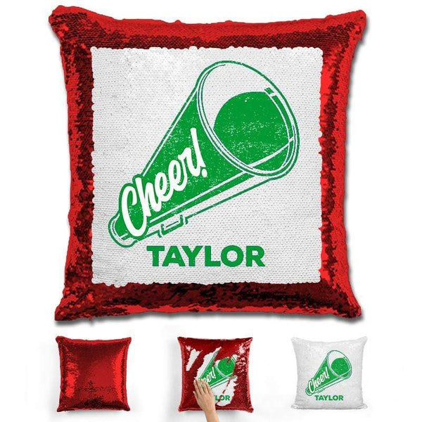 Cheerleader Personalized Magic Sequin Pillow Pillow GLAM Red Green