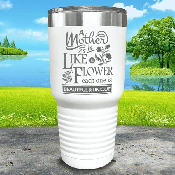 A Mother Is Like A Flower Engraved Tumbler Tumbler ZLAZER 30oz Tumbler White