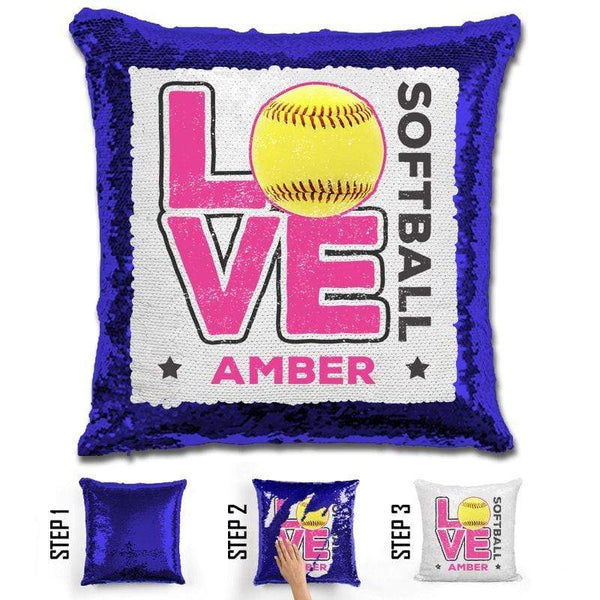 Personalized LOVE Softball Magic Sequin Pillow Pillow GLAM Blue Pink
