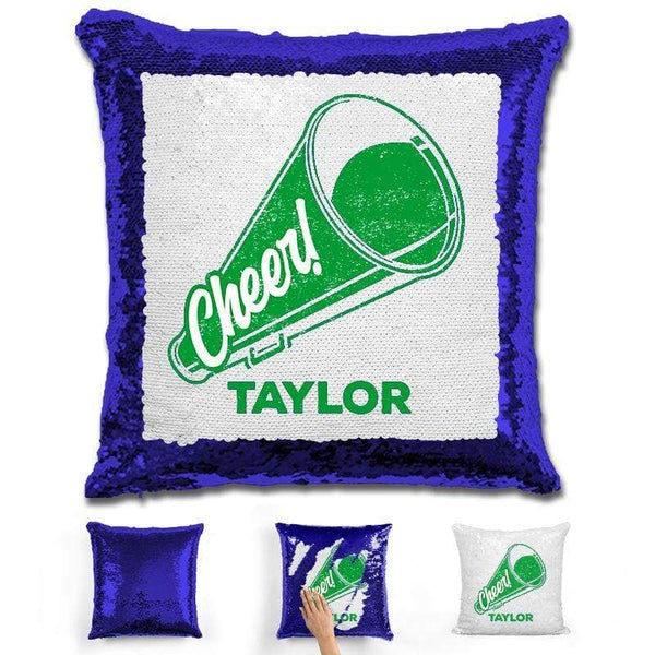 Cheerleader Personalized Magic Sequin Pillow Pillow GLAM Blue Green