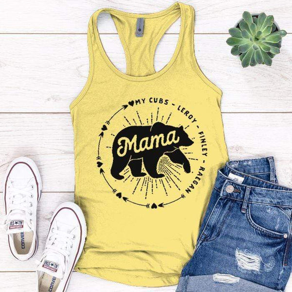 PERSONALIZED Mama Bear Premium Tank Tops Apparel Edge Banana Cream S