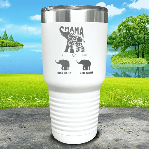 Elephant Mama (CUSTOM) With Child's Name Engraved Tumblers Tumbler ZLAZER 30oz Tumbler White