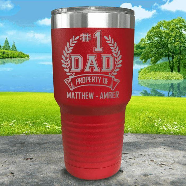 CUSTOM #1 Dad Engraved Tumblers Tumbler ZLAZER 30oz Tumbler Red