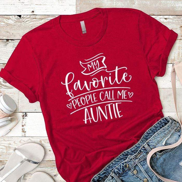 Call Me Auntie Premium Tees T-Shirts CustomCat Red X-Small