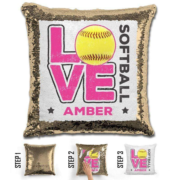 Personalized LOVE Softball Magic Sequin Pillow Pillow GLAM Gold Pink