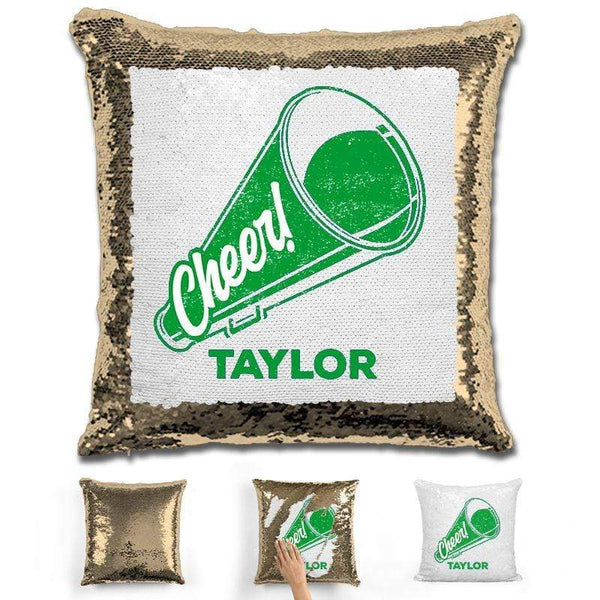 Cheerleader Personalized Magic Sequin Pillow Pillow GLAM Gold Green