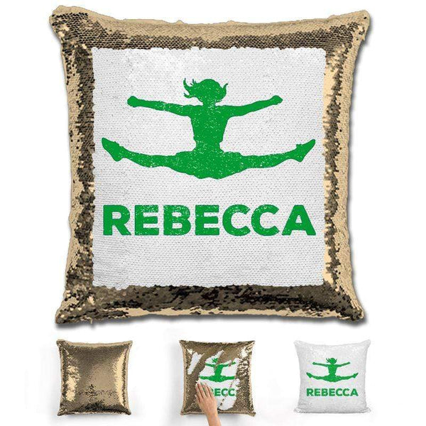 Competitive Cheerleader Personalized Magic Sequin Pillow Pillow GLAM Gold Green