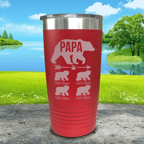 Papa Bear (CUSTOM) With Child's Name Engraved Tumblers Tumbler ZLAZER 20oz Tumbler Red