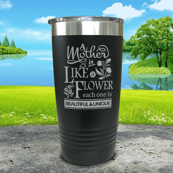 A Mother Is Like A Flower Engraved Tumbler Tumbler ZLAZER 20oz Tumbler Black