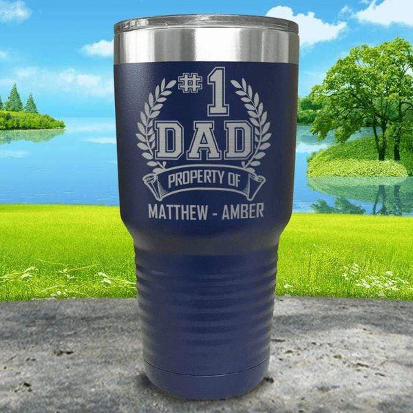 CUSTOM #1 Dad Engraved Tumblers Tumbler ZLAZER 30oz Tumbler Navy