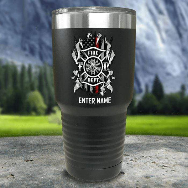 Personalized Firefighter Ripped Color Printed Tumblers Tumbler Nocturnal Coatings 30oz Tumbler Black